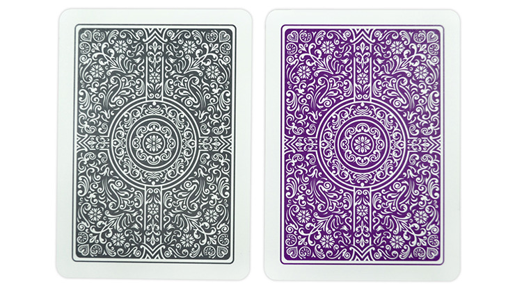 Copag Unique Plastic Playing Cards Poker Size Regular Index Gray and Purple Double-Deck Set